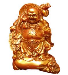 JaipurCrafts Golden Polyresin Laughing Buddha Feng Shui