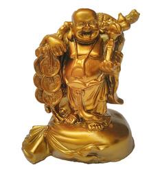 JaipurCrafts Golden Polyresin Laughing Buddha Statue