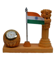 Jaipurcrafts Multicolor Wood Ashoka Pillar with National Flag & Clock Showpiece