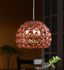 Jainsons Emporio Novelty Hand Woven Brown Metal Dome Shaped Pendant with Crystal Beads