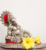 JaipurCrafts Silver & Red Aluminum Lord Ganesha Idol & Incense Stick Holder Set