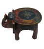 JaipurCrafts Multicolour Wooden Embossed Elephant Stool Showpiece