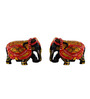 JaipurCrafts Multicolour Wood Painted Elephant Showpiece