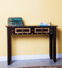 Advara Console Table with Brass Repousse Work in Passion Mahagony Finish by Mudramark