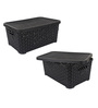 Jaypee PPR Plastic Black Basket with Lid - Set of 2
