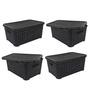 Jaypee PPR Plastic Black Basket with Lid - Set of 4