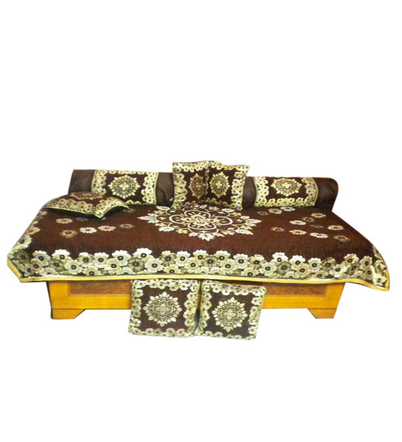 Jbg home store beautiful chocolaty ethnic design diwan set for Diwan bed set