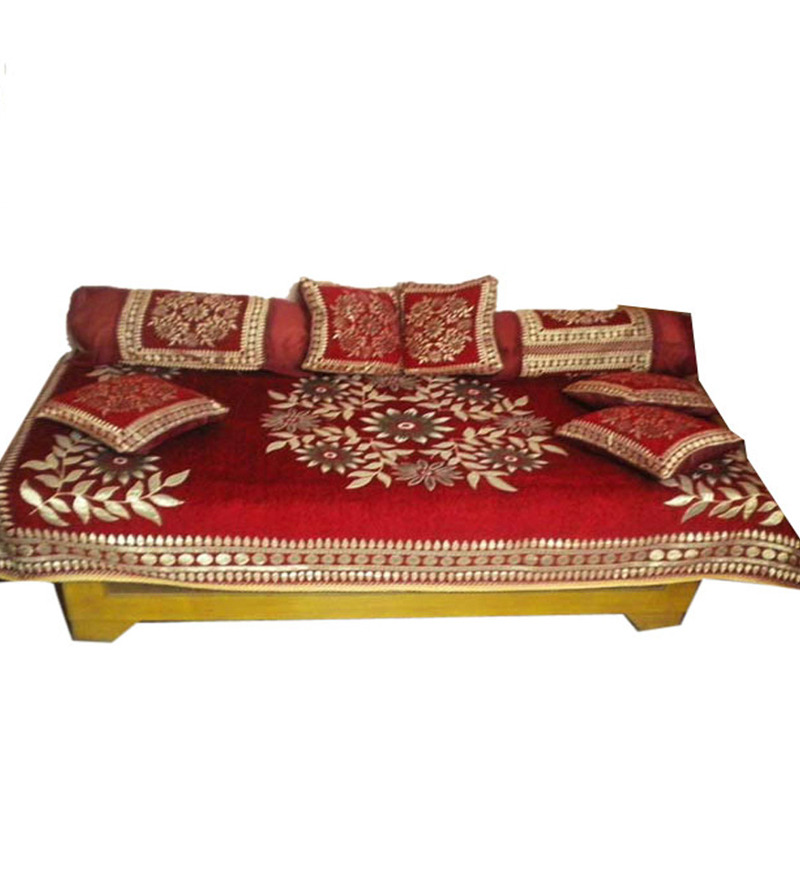 Buy jbg home store red poly cotton floral single diwan set for Diwan bed set