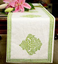 Jodhaa Floral And Paisley White & Green Cotton Table Runner