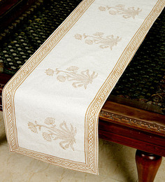 Jodhaa Floral And Paisley White And Brown Cotton Table Runner