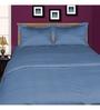 Just Linen Aqua Cotton Queen Size Flat Bedsheet - Set of 3
