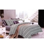 Just Linen Black and White Cotton Queen Size Flat Bedsheet - Set of 3