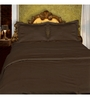 Just Linen Chocolate Cotton Queen Size Fitted Bedsheet - Set of 3