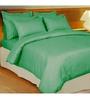 Just Linen Green Cotton King Size Flat Bedsheet - Set of 3