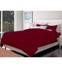 Just Linen Maroon Cotton Queen Size Flat Bedsheet - Set of 3