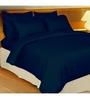 Just Linen Navy Cotton Queen Size Flat Bedsheet - Set of 3