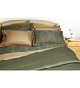 Just Linen Olive Cotton Queen Size Flat Bedsheet - Set of 3
