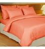 Just Linen Orange Cotton King Size Flat Bedsheet - Set of 3