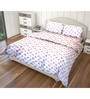 Just Linen Pink and Green Cotton King Size Flat Bedsheet - Set of 3