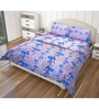 Just Linen Purple and Blue Cotton Queen Size Flat Bedsheet - Set of 3