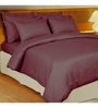 Just Linen Purple Cotton King Size Flat Bedsheet - Set of 3