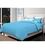 Just Linen Sky Blue Cotton Queen Size Fitted Bedsheet - Set of 3