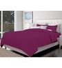Just Linen Wine Cotton Queen Size Flat Bedsheet - Set of 3