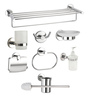 Jwell Star Series Silver Stainless Steel 25.6 x 8.7 x 7.1 Inch Bathroom Fixture Set