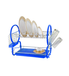 Kawachi 2 Tier Blue Stainless Steel & Plastic Dish Drainer Rack