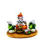 Karigaari Multicolour Polyresin Ganesha with Its Friends Worshipping Lord Shiva Statue