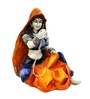 Karigaari Multicolour Polyresin Lady Engaged In Stitching Clothes Statue Showpiece