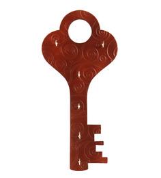 Safal Quartz Key Shaped Brown Wood Key Holder