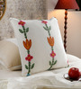 KEH Multicolour Cotton & Wool 20 x 20 Inch Flower Cushion Cover