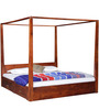 Freemont King Poster Bed with Storage In Honey Oak Finish by Woodsworth