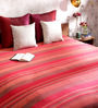 Khadi Rose Red Cotton Stripes 100 x 90 Inch Queen Bed Sheet