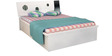 King Bed with Storage in Dark Grey & White Colour by Parin