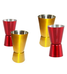 King International Stainless Steel Gold and Red 30-60 ML Peg Measure - Set of 4
