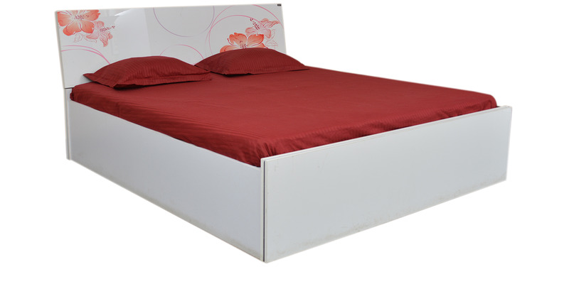 King Size Bed with Storage in White & Orange Colour by Parin