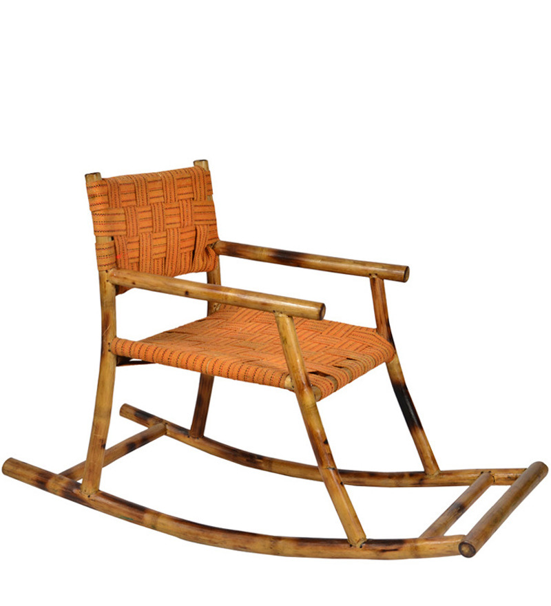 Kids rocking chair in bamboo orange colour by for Orange kids chair