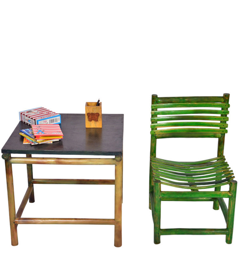 kids study table chair set in green colour by
