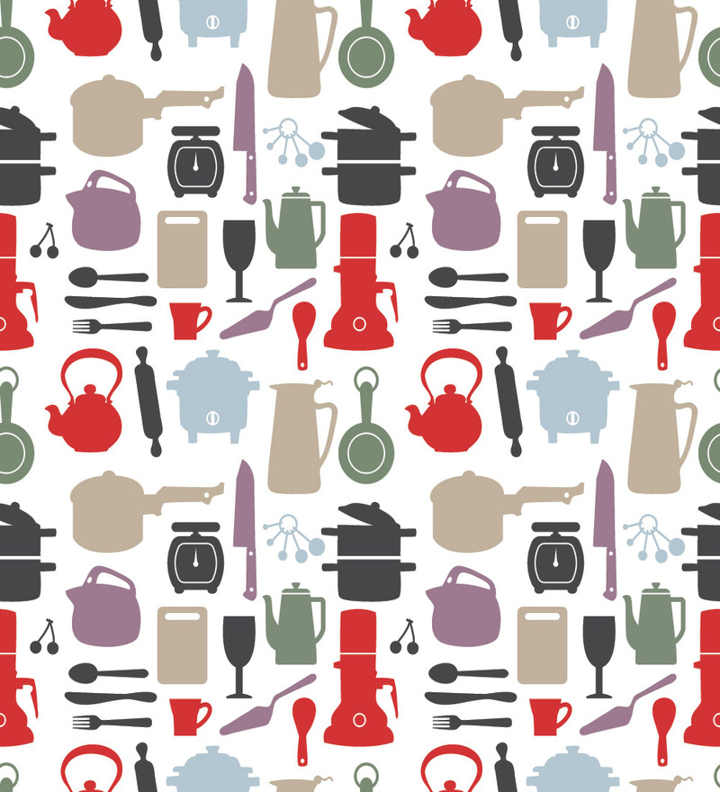 Print A Wall Paper Kitchen Equipments PVC Free Wallpaper