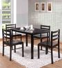 Kichi Four Seater Dining Set in Light Cappuccino Finish by Mintwud