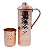 King International Hammered Stainless Steel and Copper Jug and Glasses - Set of 2