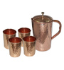 King International Hammered Stainless Steel and Copper Jug and Glasses - Set of 5