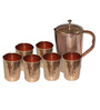 King International Hammered Stainless Steel and Copper Jug and Glasses - Set of 7