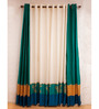 Kiwaad Blue & Green Silk Jacquard 42 x 84 Door Curtains - Set of 4
