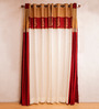 Kiwaad Maroon & White Silk Jacquard 42 x 84 Door Curtains - Set of 4
