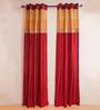 Kiwaad Maroon Silk 42 x 84 Door Curtains - Set of 2