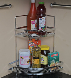 Klaxon Stainless Steel Unique Double Corner Shelf