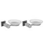 Klaxon Kristal 103 Silver Stainless Steel Soap Case - Set of 2 (Model: G0193IT0012-2p)